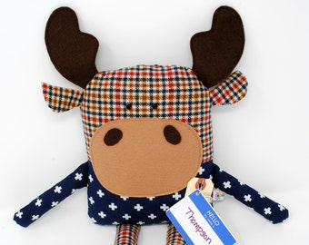 Moose Stuffed Animal-Moose Plush-Moose Softie-Moose Toy-UpCycled-Repurposed-Hand Sewn Toy-Unique Moose-Moose-Birthday Gift-Toddler Gift