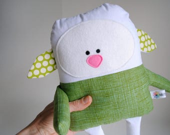 Lamb Stuffed Animal-Lamb Plush-Lamb Softie-Lamb Lovey-Easter Lamb-UpCycled-Repurposed-Hand Sewn Toy-Unique Lamb-Unique Stuffed Animal-Easter