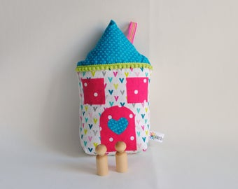 Soft Doll House-Peg Doll House-House Pillow-Tooth Fairy Pillow-Love Note Pillow-Girl Easter Basket Gift-Preschool Girl Gift-Birthday Gift