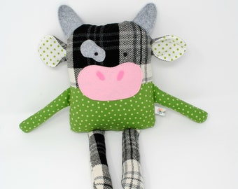Cow Plush-Cow Stuffed Animal-Cow Softie-Stuffed Cow-Cow Toy-RePurposed-UpCycled-White and Black Plaid-Black and White Cow-Green Polka Dot