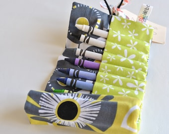 Crayon Roll-Crayon Holder-Art Supply-Art Carrier-Toddler Girl Present-Preschool Girl-Birthday Gift-Lime and Grey-Coloring-Easter Basket Toy
