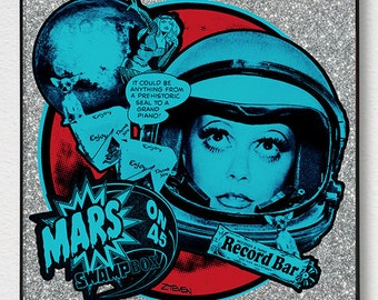 "B-52's Cindy ""Mars on 45"" original framed art by Zteven"