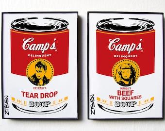 CRY BABY, John Waters Pop Art Soup, original framed art by Zteven