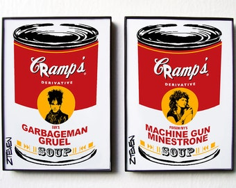 THE CRAMPS Lux and Ivy Framed Pop Art Soup set by Zteven