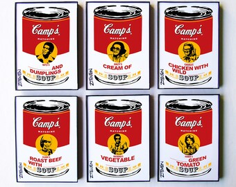 Match Game 1970s Full Panel Pop Art Soup, set of 6 by Zteven