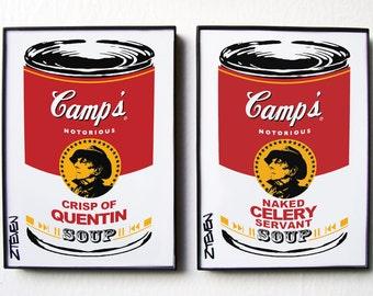 Quentin Crisp Pop Art Soup, framed original art set by Zteven