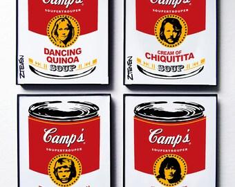 ABBA Pop Art Soup Set of 4, framed original art by Zteven