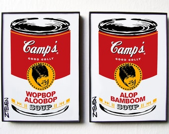 Little Richard Pop Art Soup Cans, framed original art set by Zteven