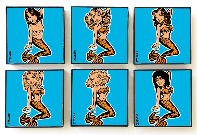 Charlie's Angels Mermaids 6 framed 4 prints image 0