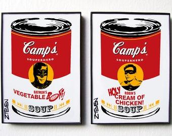 Batman and Robin Classic Pop Art Soup, original framed art duo by Zteven