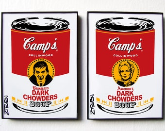 Dark Shadows, Barnabas and Angelique Pop Art Soup Cans, original art by Zteven