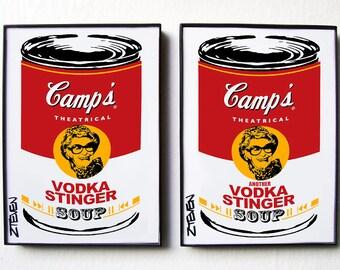 Elaine Stritch Pop Art Soup Cans framed original art set by Zteven