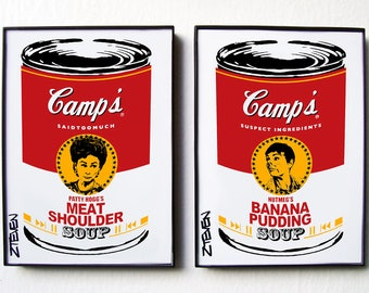 PATTY HOGG and NUTMEG Pop Art Soup Cans framed art set by Zteven