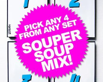 """Pick Any 4 From Any Set """"SOUPER SOUP MIX"""" original framed art by Zteven"""