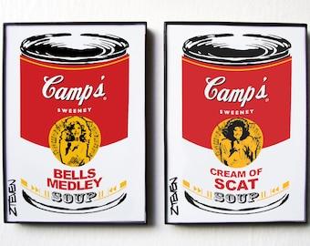 The Sweeney Sisters! Pop Art Soup, original art duo set by Zteven