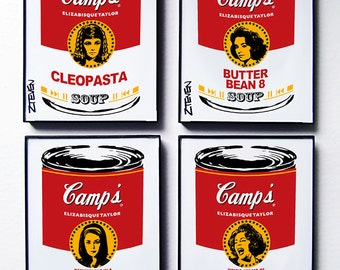 Elizabeth Taylor Pop Art Soup, framed original art set of 4, by Zteven