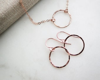 Karma Earrings and Necklace SET - 14k Rose Gold Fill, 14k Gold Fill, and Sterling Silver Available