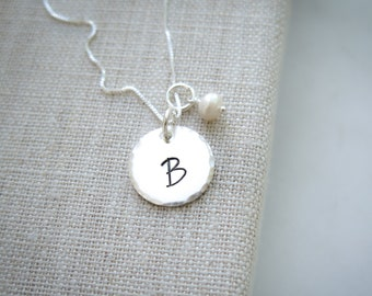 Hand Stamped Initial Necklace - Personalized Necklace with Freshwater pearl by Betsy Farmer Designs