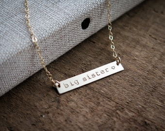Big Sister with Heart Gold Bar Necklace - Hand Stamped Jewelry - Custom Gold Fill by Betsy Farmer Designs
