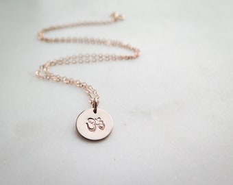 Om Necklace - Namaste Yoga - Hand Stamped Jewelry by Betsy Farmer Designs Rose Gold Fill