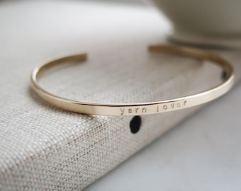 Yarn Lover - Personalized in Rose Gold, 14kt Gold Fill or Sterling, Thin, Skinny, Dainty - Hand Stamped by Betsy Farmer Designs