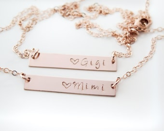 Mimi or Gigi Necklace - Gold Fill or Rose Gold Fill Bar Necklace - Hand Stamped Jewelry - Grandma or Granny