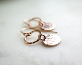 Circle Drop Earrings - Dainty and Classic - Available in Sterling Silver or 14k Rose Gold Fill - By Betsy Farmer Designs