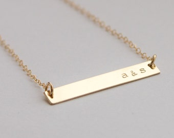 Customized Word Name Gold Bar Necklace - Couples Initials Wedding Necklace  Hand Stamped Jewelry - Layering Necklace by Betsy Farmer Designs