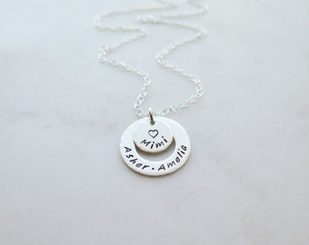 Grandkids Necklace for Mimi - Grandchildren Jewelry - Hand Stamped Sterling Silver - Personalized Mothers Day Gift by Betsy Farmer Designs