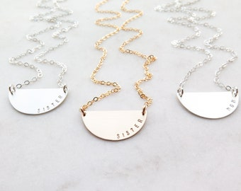 SISTER or MOM - Hand Stamped Half Moon Necklace - Personalized by Betsy Farmer Designs