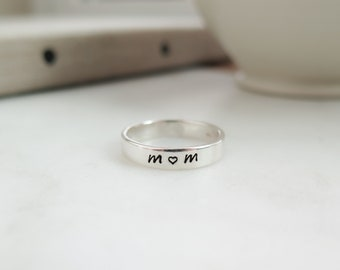 Mom Ring with Arrow - Sale - Sold As - Is  - Size 8 - Sterling Silver Hand Stamped Ring by Betsy Farmer Designs