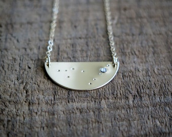 Night Sky Constellation Zodiac Horoscope Hand Stamped Necklace - Available in 14k Gold Fill and Sterling Silver by Betsy Farmer Designs