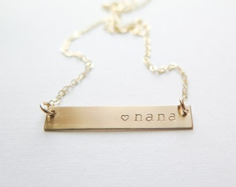Nana Necklace - Gold Fill or Rose Gold Fill Bar Necklace - Hand Stamped Jewelry - Grandma or Granny - Betsy Farmer Designs