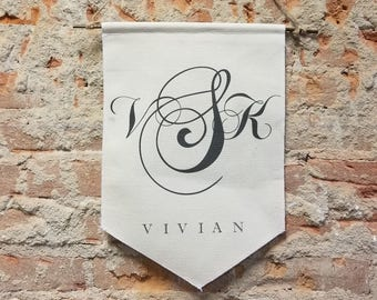 Monogram Banner Personalized Gift, Script Custom Wall Banner, Name Canvas Wall Hanging