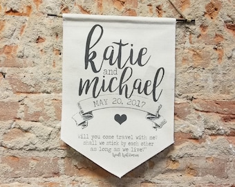 Banner Personalized Wedding Gift, Script Custom Wall Banner, Anniversary Canvas Wall Hanging