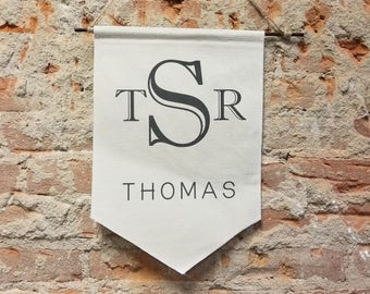 Monogram Banner Personalized Gift, Type Custom Wall Banner, Name Canvas Wall Hanging