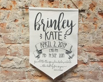 Banner Personalized Baby Gift, Script Custom Wall Banner, Canvas Wall Hanging