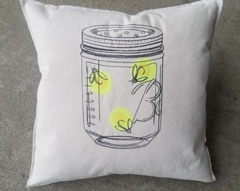 Vintage Mason Jar Firefly Embroidered Pillow