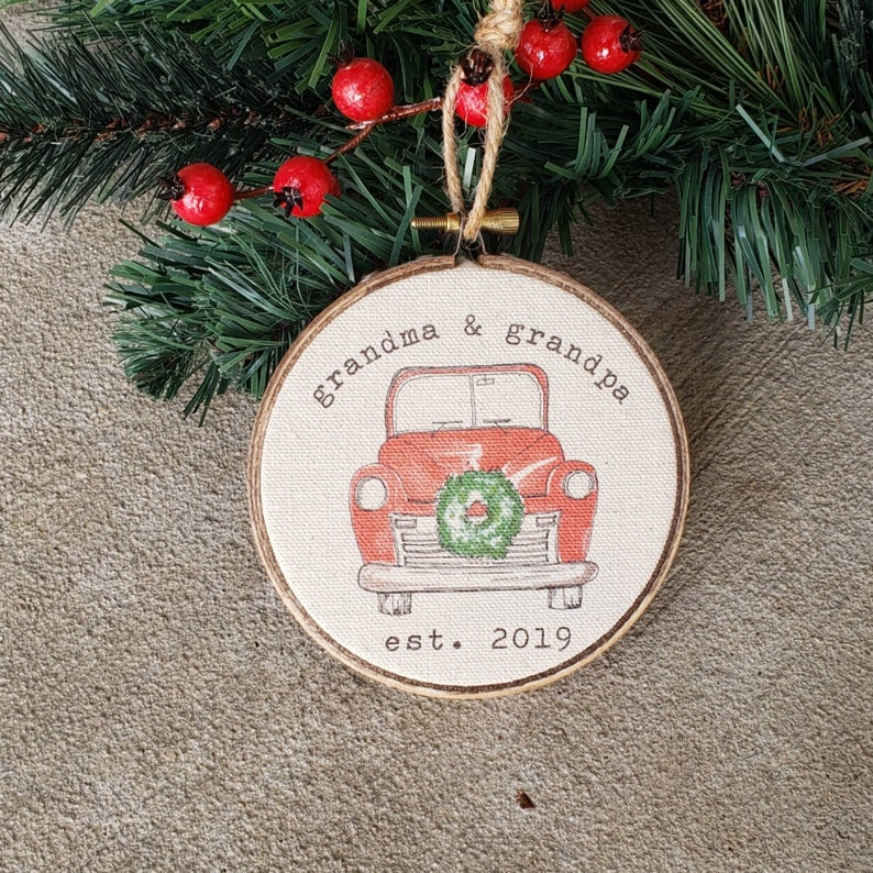 Farmhouse Christmas Hoop Ornament Grandma and Grandpa 2019