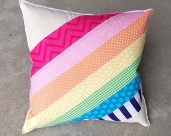 Rainbow, layered fabric Pillow