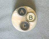 Typewriter Key Pin - Says quot ABC quot