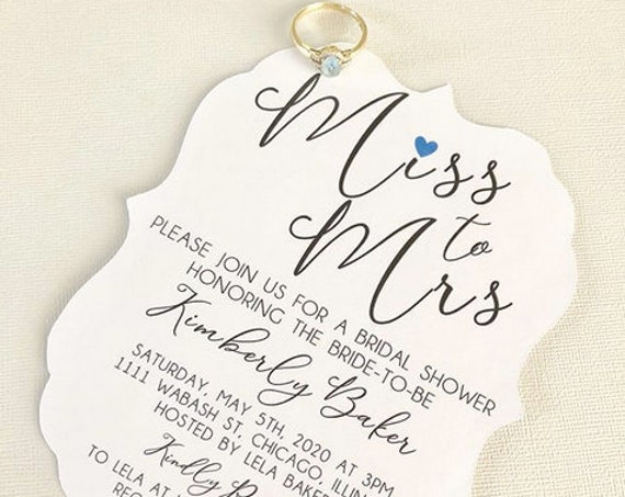 Miss to Mrs Bridal Shower invitations, fits an A7 envelope, simple bridal shower invitations, wedding invitations, miss to mrs themed party