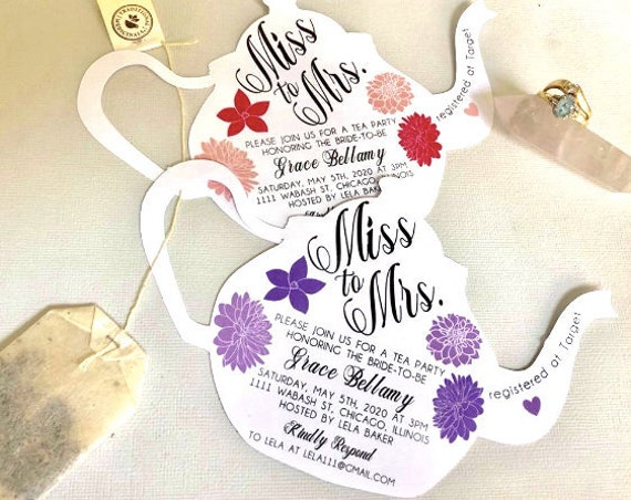 Miss to Mrs Bridal Tea Pot Shower invitations, A7 envelope, miss to mrs themed tea party, tea time, high tea party, tea pot, teapot invite