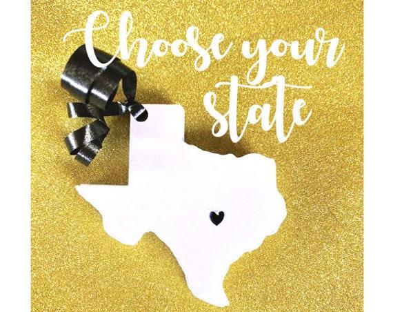 Custom State Tag Cut, Texas wedding, paper tags, paper state tags, state, state wedding, weddings, wedding favors, wedding present, wedding
