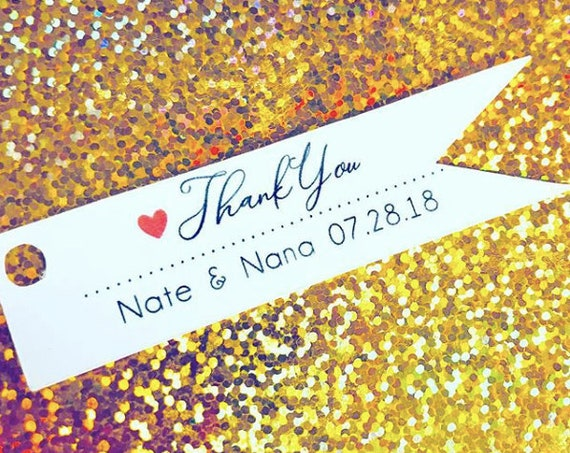Thank You Flag Tag, .75 x 3 inches long, custom color heart, wedding favor tags, favor tags, custom paper tags, personalized tags, thank you