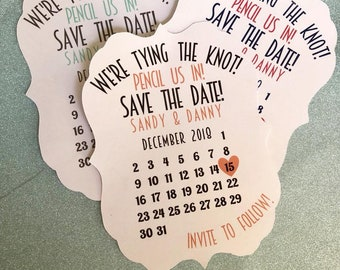 Save the Date with Calendar and Heart on date, save the date, pencil us in, we're tying the knot, custom colors, wedding invites, invites
