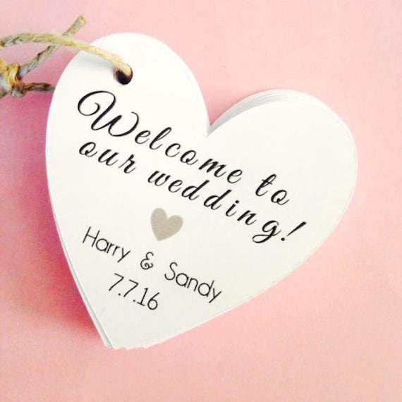 Welcome to our wedding!, various designs avail, with custom name, heart , custom tags, wedding, favor tags, thank you tags, party favors,