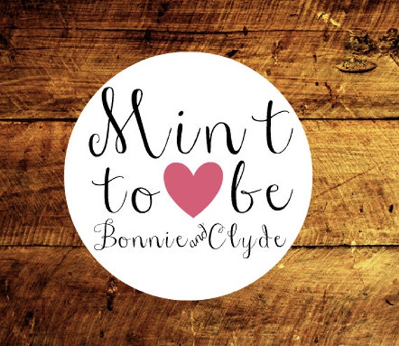 Mint To Be Custom Stickers, set of 15, mint wedding favor choice of heart color and website address, thank you tags, wedding tags, etsy shop
