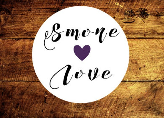 Smore Love, set of 15, 1.5 inch circular stickers, with choice of heart color and website address, thank you tags, wedding tags, etsy shop