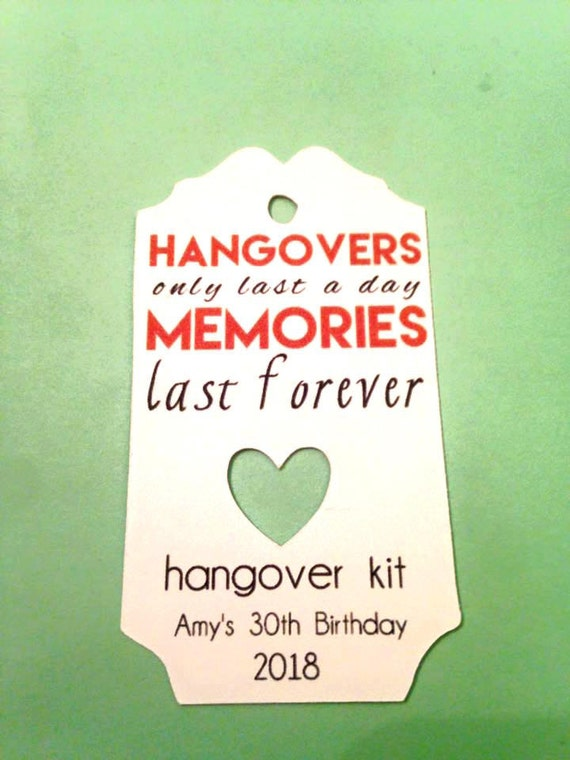 Hangover Kit Tag, Set of 12, DIY Hangover Kit, DIY Hangover Bags, Personalized Name Tag, Wedding Favor Bags, Bachorlette Favors